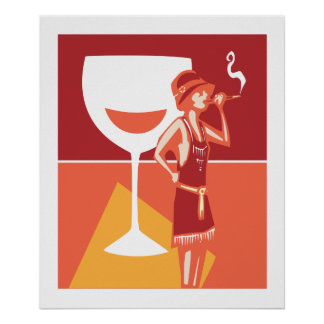 Flapper Speakeasy Wine Poster