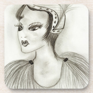 Flapper with Feathers Beverage Coaster