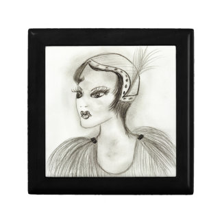 Flapper with Feathers Jewelry Box