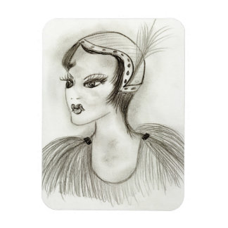 Flapper with Feathers Magnet
