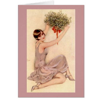 Flapper with Mistletoe Card
