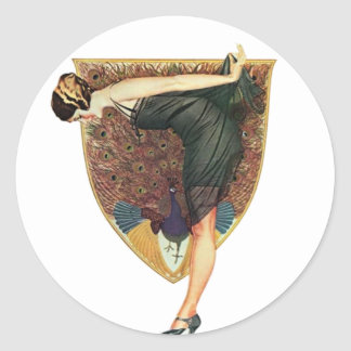 Flapper with Peacock Emblem Classic Round Sticker