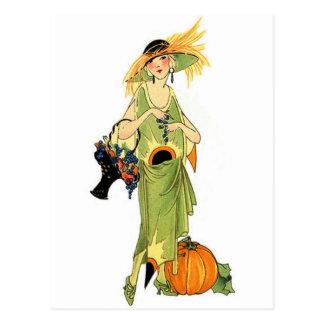 Flapper with pumpkin postcard