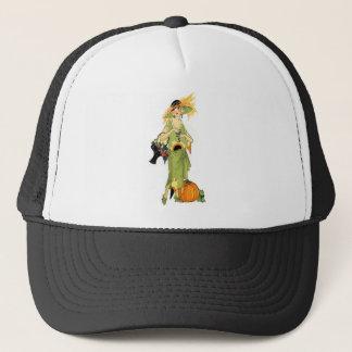 Flapper with pumpkin trucker hat