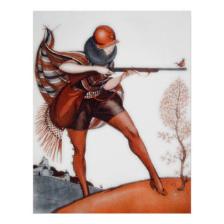 Flapper Woman in Cloche Hat Bird Hunting Poster