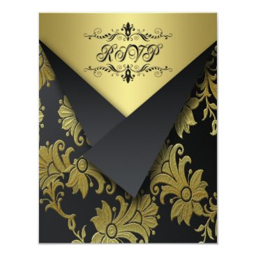 FLAPS LOOK- Black and Gold Floral RSVP Card 2