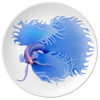 Flaring Blue Betta Fish Porcelain Plate
