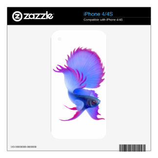 Flaring Blue Betta Fish Zazzle Skin Decal For The iPhone 4S