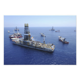 Flaring operations conducted by the drillship art photo