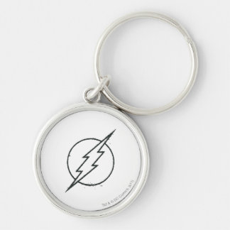 Flash Bolt Grunge BW Keychain