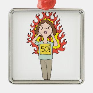 Flash caliente envejecido centro de la mujer adorno navideño cuadrado de metal