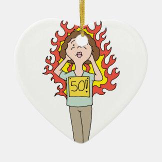 Flash caliente envejecido centro de la mujer adorno navideño de cerámica en forma de corazón