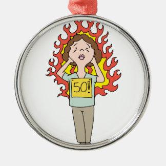 Flash caliente envejecido centro de la mujer adorno navideño redondo de metal