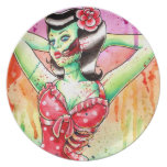 Flash del tatuaje de la muñeca del zombi plato para fiesta