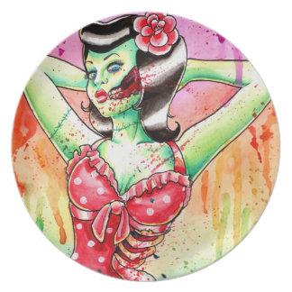 Flash del tatuaje de la muñeca del zombi platos
