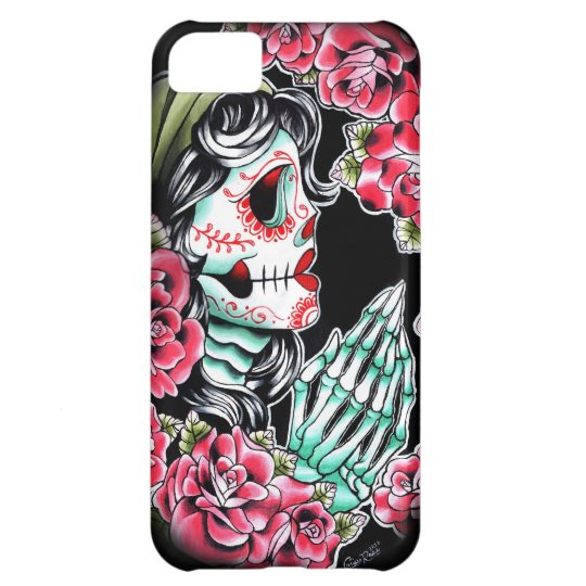 Flash del tatuaje del cráneo de Dia De Los Muertos Carcasa Para iPhone 5C
