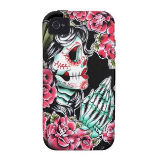 Flash del tatuaje del cráneo de Dia De Los Muertos iPhone 4 Fundas