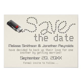 "Flash Drive Save the Date Announcement 5"" X 7"" Invitation Card"