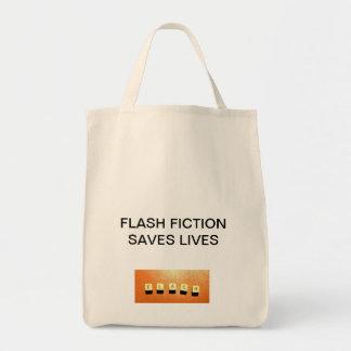 Flash Fiction Saves Lives organic grocery tote bag