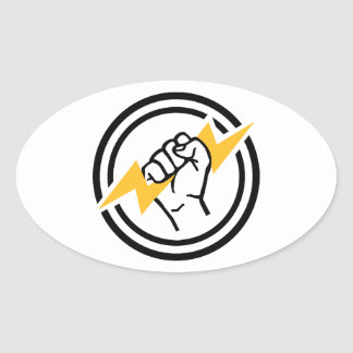 Flash hand electrician oval sticker