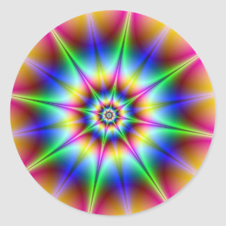 Flash Holograph Optical Illusion Rainbow Disco Classic Round Sticker