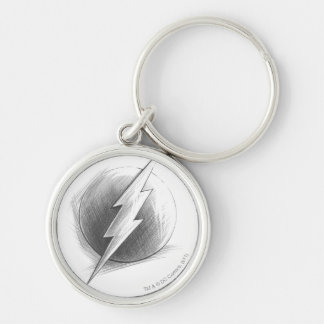 Flash Insignia Silver-Colored Round Keychain