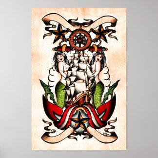 Flash marítimo del tatuaje de la escuela vieja impresiones