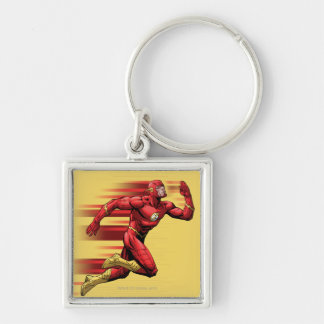 Flash Running Silver-Colored Square Keychain