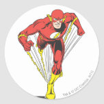 Flash Runs Forward Classic Round Sticker at Zazzle