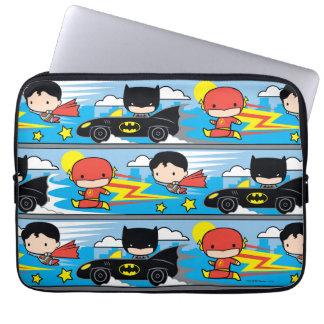 Flash, superhombre, y Batman de Chibi que compite Funda Para Portátil