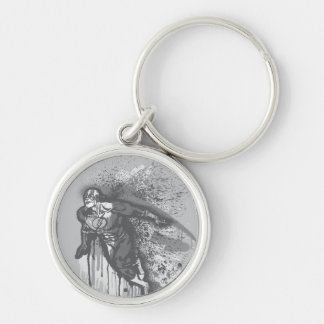 Flash - Twisted Innocence Poster BW Silver-Colored Round Keychain