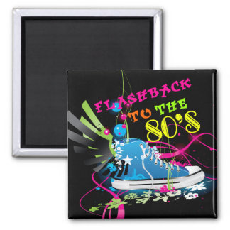 Flashback To The 80's Neon Sneaker 2 Inch Square Magnet