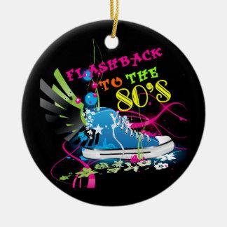 Flashback To The 80's Neon Sneaker Ceramic Ornament