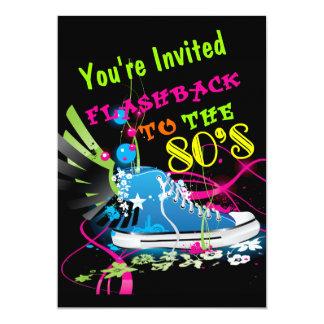 Flashback To The 80's Neon Sneaker Custom Invitation