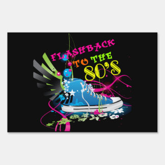 Flashback To The 80's Neon Sneaker Lawn Sign