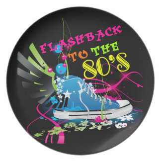 Flashback To The 80's Neon Sneaker Melamine Plate