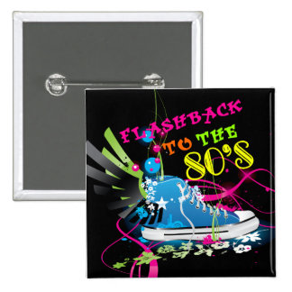 Flashback To The 80's Neon Sneaker Pinback Button