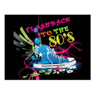 Flashback To The 80's Neon Sneaker Postcard