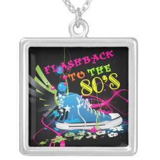 Flashback To The 80's Neon Sneaker Silver Plated Necklace