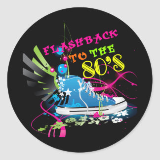 Flashback To The 80's Neon Sneaker Classic Round Sticker