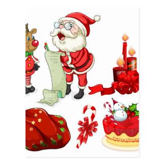 Flashcard del navidad con Santa y los ornamentos Postal