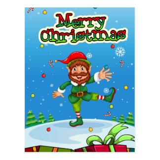 Flashcard del navidad con Santa y los ornamentos Postales