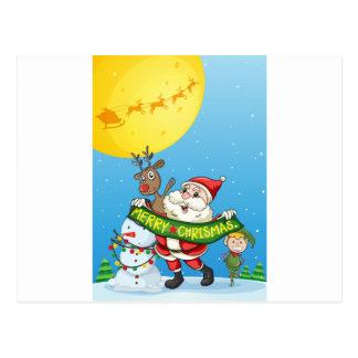Flashcard del navidad con Santa y los ornamentos Tarjetas Postales