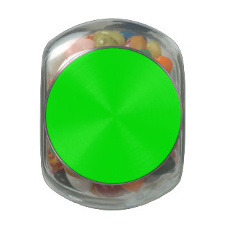Flashy Bright Neon Green Accent Color Glass Candy Jar
