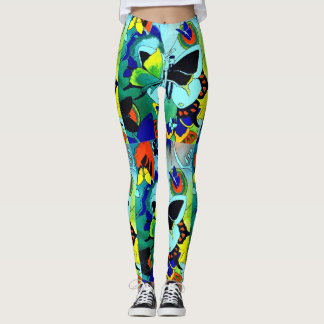 Flashy Cute Color Butterfly Collage Designed Leggings