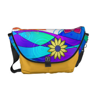 Flashy Flowers & Waves Courier Bag