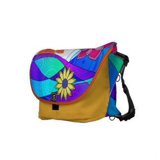Flashy Flowers & Waves Messenger Bags