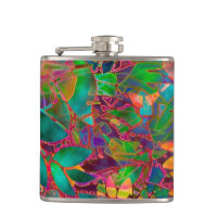 Flask Floral Abstract Stained Glass
