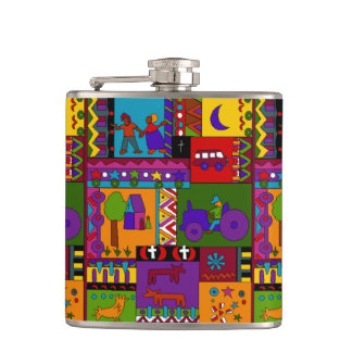 Flask fun Folk Art Rural Life Tiled Tractor Moon