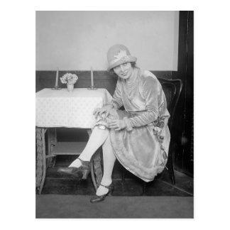 Flask Hidden in Garter, 1926 Postcard